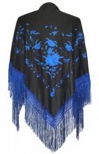 Spanischer Manton/Tuch, schwarz mit dunkel blauen Blumen