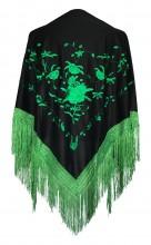 Spanischer Manton/Tuch Schwarz Grün