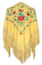 Spanischer Manton/Tuch, Gelb mit Blumen