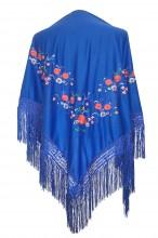 Spanischer Manton/Tuch Königsblau mit Blumen