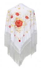 Spanischer Manton/Tuch, weiß Gold mit roten Blumen