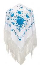 Spanischer Manton/Tuch, weiß/blau