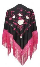 Spanischer Manton/Tuch, schwarz/rosa