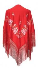 Spanischer Manton/Tuch, rot mit Blumen Rosa