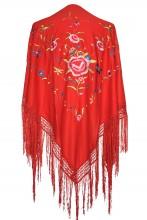 Spanischer Manton/Tuch, rot mit Blumen Größe L
