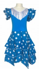 Flamenco Kleid Niño Deluxe blau weiß