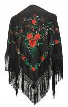 Spanischer Manton/Tuch, schwarz mit roten Rosen