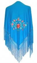 Spanischer Manton/Tuch blau mit verschiedenen Blumen