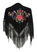 Spanischer Manton/Tuch schwarz mit Blumen Kinder