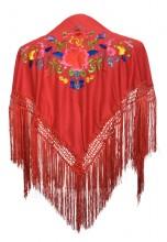 Spanischer Manton/Tuch Rot mit Blumen Kinder