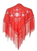 Spanischer Manton/Tuch, rot mit weißen Blumen