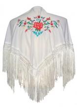 Spanischer Manton/Tuch, weiß mit Blumen Kinder