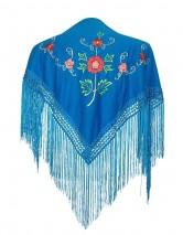 Spanischer Manton/Tuch blau mit Blumen Kinder