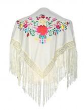 Spanischer Manton/Tuch, creme weiß mit Blumen Kinder