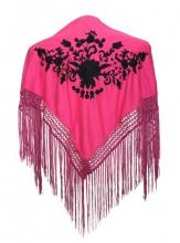 Spanischer Manton/Tuch rosa mit schwarzen Blumen Kinder