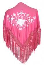 Spanischer Manton/Tuch, rosa mit weißen Blumen
