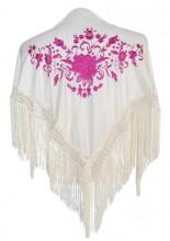 Spanischer Manton/Tuch, creme weiß mit rosa Blumen