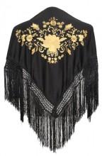 Spanischer Manton/Tuch schwarz mit golden Blumen Kinder