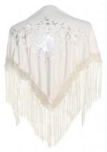 Spanischer Manton/Tuch, creme weiß mit weißen Blumen Kinder