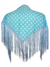 Spanischer Manton/Tuch leicht blau mit Punkten Kinder