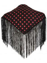 Spanischer Manton/Tuch schwarz mit Punkten Kinder XS