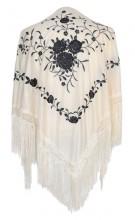 Spanischer Manton/Tuch, creme weiß mit schwarzen Blumen