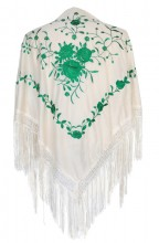 Spanischer Manton/Tuch creme weiß mit grünen Blumen