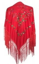 Spanischer Manton/Tuch rot mit roten Rosen
