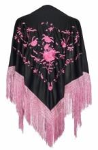 Spanischer Manton/Tuch schwarz mit leicht rosa Blumen