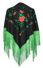 Spanischer Manton/Tuch schwarz grün mit roten Rosen