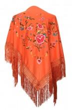 Spanischer Manton/Tuch orange mit Blumen