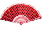 Flamencofächer rot schwarz mit Spitze
