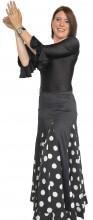 Flamenco Rock Damen schwarz mit weißen Punkten