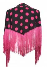 Spanischer Manton/Tuch, mit Punkten schwarz/ hell rosa