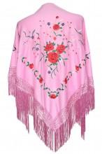 Spanischer Manton/Tuch leicht rosa mit Rosen