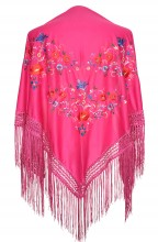 Spanischer Manton/Tuch, rosa mit Blumen