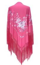 Spanischer Manton/Tuch, rosa weiß Größe L