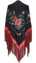 Spanischer Manton/Tuch, schwarz mit Blumen, Franzen rot schwarz, Größe L