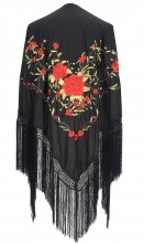 Spanischer Manton/Tuch, schwarz/gold roten Blumen Größe L