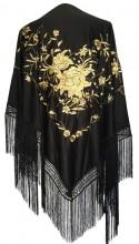 Spanischer Manton/Tuch, schwarz gold Größe L
