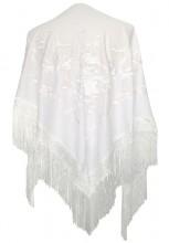Spanischer Manton/Tuch, hell weiß mit weißen Blumen Größe L