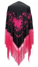 Spanischer Manton/Tuch, schwarz rosa Größe L