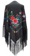 Spanischer Manton/Tuch, schwarz mit Blumen, Franzen schwarz, Größe L