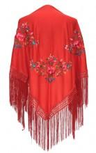 Spanischer Manton/Tuch, rot mit Blumen