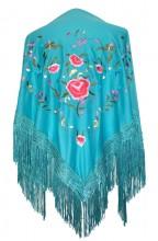Spanischer Manton/Tuch Türkis blau mit Blumen