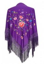 Spanischer Manton/Tuch, violett mit Blumen