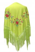 Spanischer Manton/Tuch grün mit Blumen