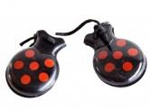 Spanische Kastagnetten, schwarz mit roten Punkten