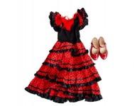 Spanisches Kleid + Schuhe Paket schwarz/rot