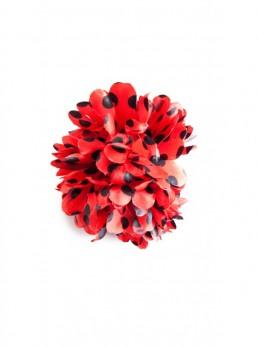Haarblume rot mit schwarzen Punkten